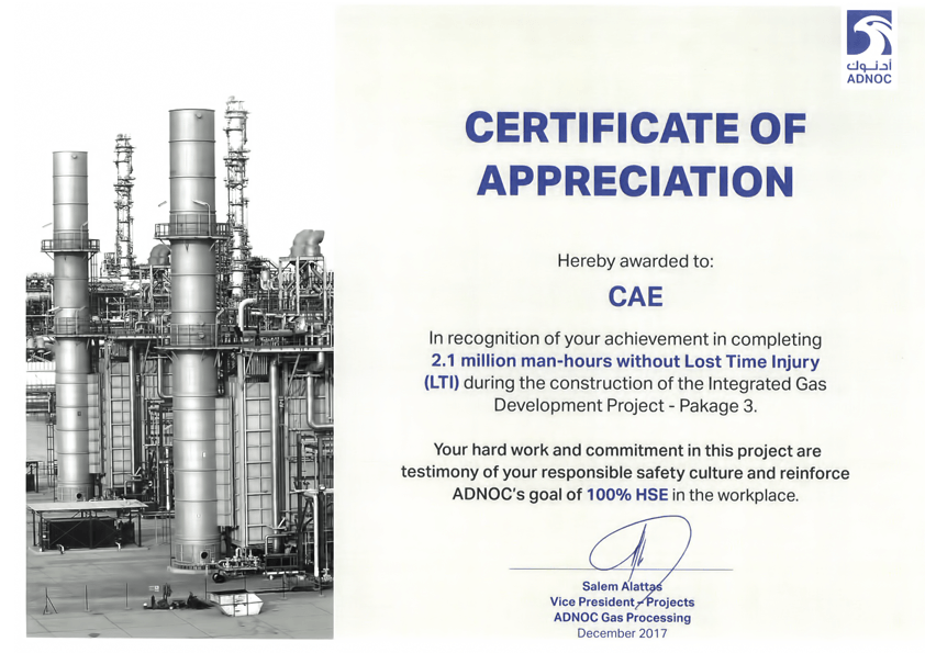 Awards & Certificates - Control & Applications Emirates (CAE)