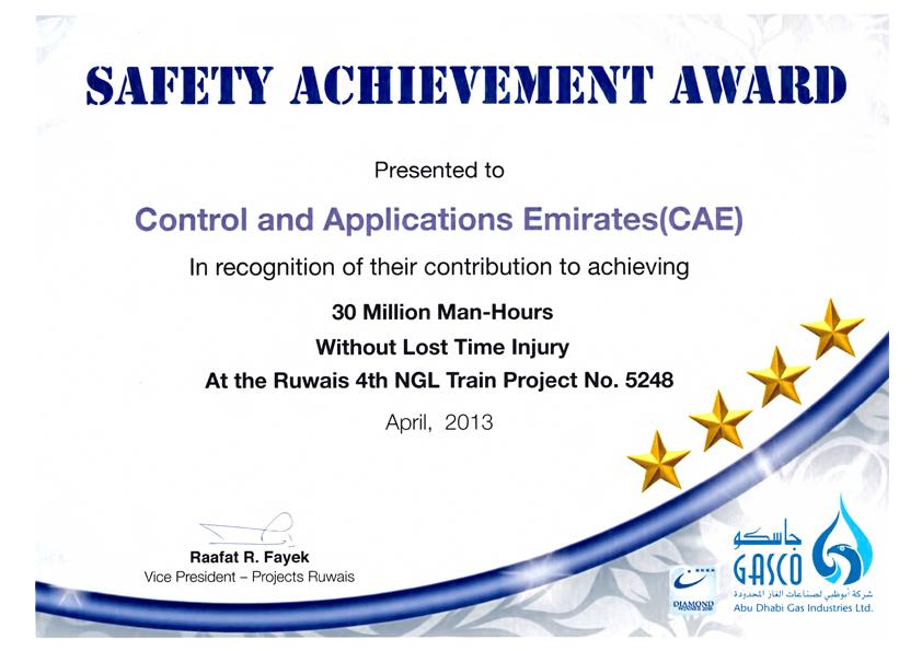 Awards Certificates Control Applications Emirates Cae