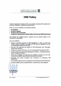 CAE HSE Policy