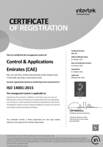 ISO 14001 2015 Main Certificate