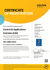 CAE ISO 14001 Certificate