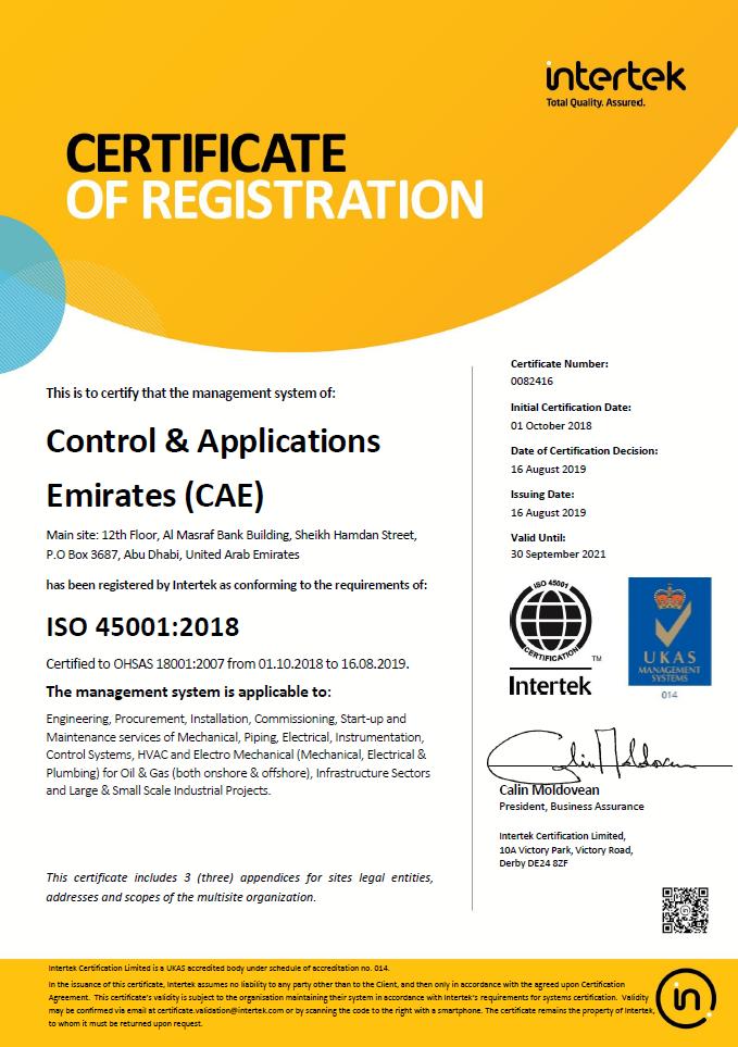 OHSAS 45001 2018 Main Certificate